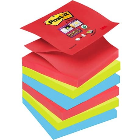 Post-it® Super Sticky Z-Notes - Bora Bora Collection (76 mm x 76 mm) 6 pads per pack