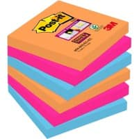 Post-it® Super Sticky Notes - Bangkok Collection (76mm x 76mm) 6 pads per pack