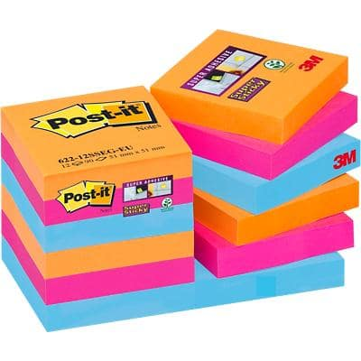 Post-it Super Sticky Notes 47.6 x 47.6 mm Bangkok Assorted Colours 12 Pads of 90 Sheets