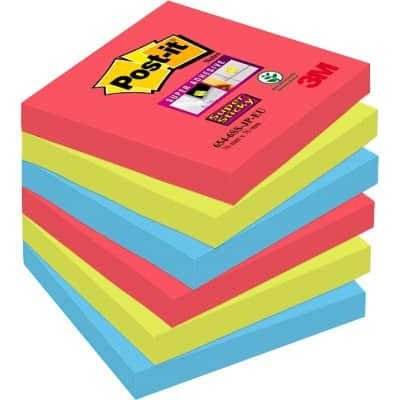 Post-it Sticky Notes 76 x 76 mm Assorted 6 Pieces of 90 Sheets