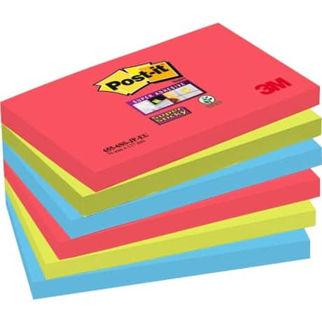Post-it® Super Sticky Z-Notes Jewel Pop 76 mm x 76 mm - Pack of 6