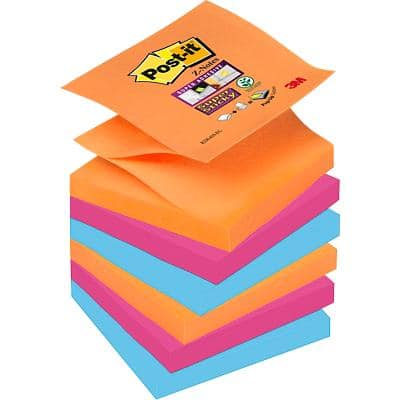 Post-it Super Sticky Z-Notes 76 x 76 mm Assorted 6 Pieces of 90 Sheets