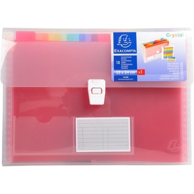 Exacompta Expanding File Crystal A4 Assorted Plastic