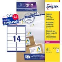 Avery L7163-100 Address Labels Self Adhesive 99.1 x 38.1 mm White 100 Sheets of 14 Labels