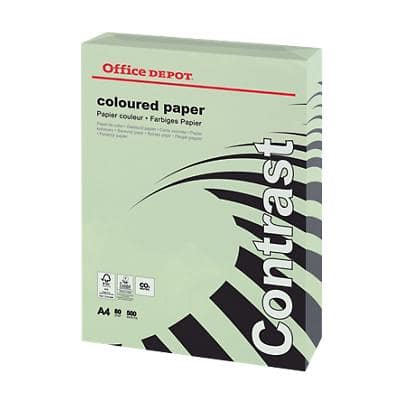 Office Depot Coloured Paper A4 80gsm Pastel Green 500 Sheets