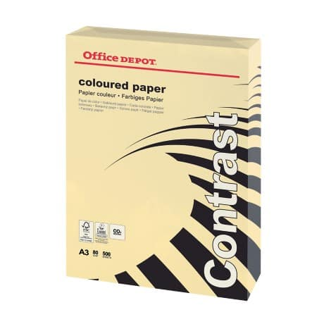 Office Depot Contrast Coloured Paper A3 80gsm Cream 500 sheets
