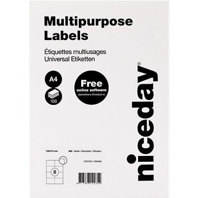 Niceday Multipurpose Labels Self Adhesive 105 x 74 mm White 100 Sheets of 8 Labels