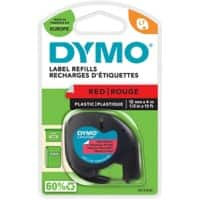 Dymo Letratag Label Plastic Red 12 mm x 4 m