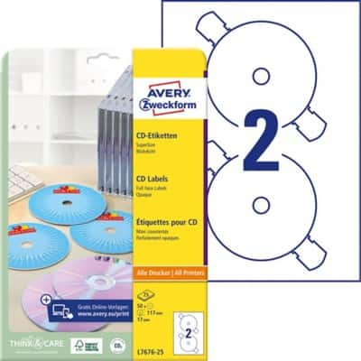Avery CD Labels L7676-25 White 50 labels per pack