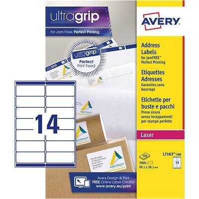 AVERY Address Labels L7163-500 UltraGrip White A4  99.1 x 38.1 mm 500 Sheets of 14 Labels