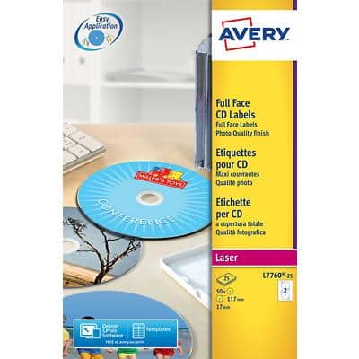 AVERY Zweckform Full Face CD Labels L7760-25 White 50 pieces