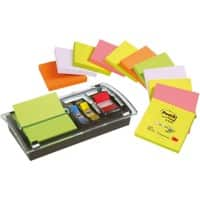 Post-it Sticky Z-Notes 76 x 76 mm Neon Assorted Colours 12 Pads of 100 Sheets with Free Combi Dispenser