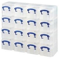 Really Useful Boxes Storage Box UB03KUB 16 x 0.3 L Transparent Plastic 37.5 x 12.5 x 31 cm