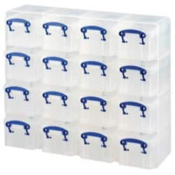 Really Useful Storage Box Organiser Plastic 0.3 L 16 Box Unit H 310 x w 375 x d 125 mm Clear