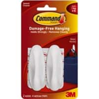 Command™ Medium Designer Hook Strip 1 kg Holding Capacity White Pack of 2