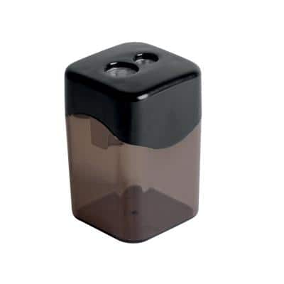 Office Depot Pencil Sharpener 2-Hole Canister Plastic & Metal Black