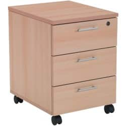 Realspace Pedestal With 3 Drawers Beech 600 x 430 x 520 mm
