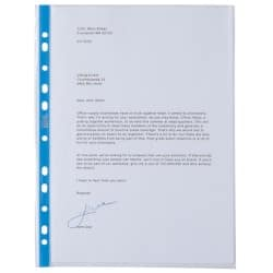 Office Depot A4 Premium Punched Pockets - Blue Spine - Pack of 25.