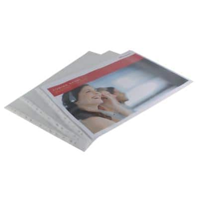 Office Depot Punched Pockets Embossed A3 Landscape Polypropylene Perforated 110 Micron Transparent 10 Pieces