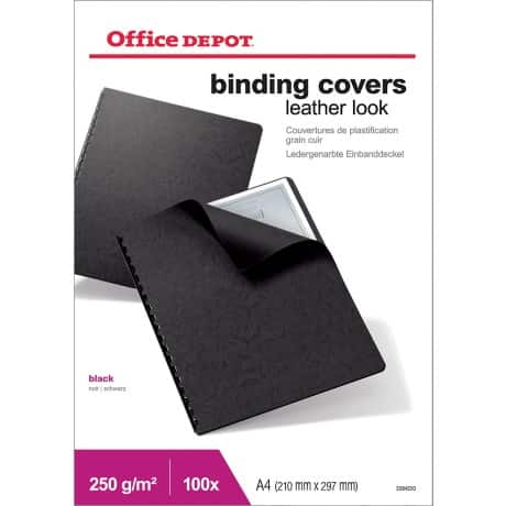 Office Depot A4 Binding Covers Black Leather Look 250gsm 100 Per Pack