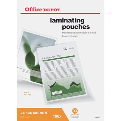 Office Depot Laminating Pouches Matt 250 micron A4 100 Pieces