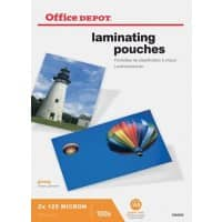 Office Depot Laminating Pouches Glossy 2 x 125 (250 Micron) A5 Pack of 100