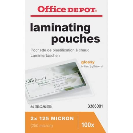 Office Depot Laminating Pouches glossy 250 microns ID 100 pieces