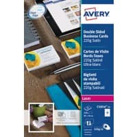 Avery Colour Laser Business Cards C32016-25 85 x 54 mm 220gsm White 25 Sheets of 10 Labels