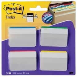 Post-it® Strong Filing Index  Angled Tabs Assorted 50 mm 24 Tabs Per Pack