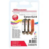 Office Depot Compatible Canon CLI-8C/M/Y Ink Cartridge Multicoloured 3 Pieces