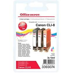 Office Depot Compatible Canon CLI-8C/M/Y Ink Cartridge Cyan, Magenta, Yellow 3 Pieces