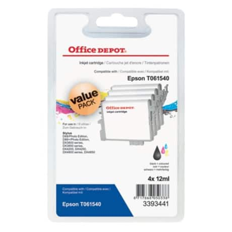 Office Depot Compatible Epson T0615 Ink Cartridge c13t06154010 Black, Cyan, Magenta, Yellow 4 pieces