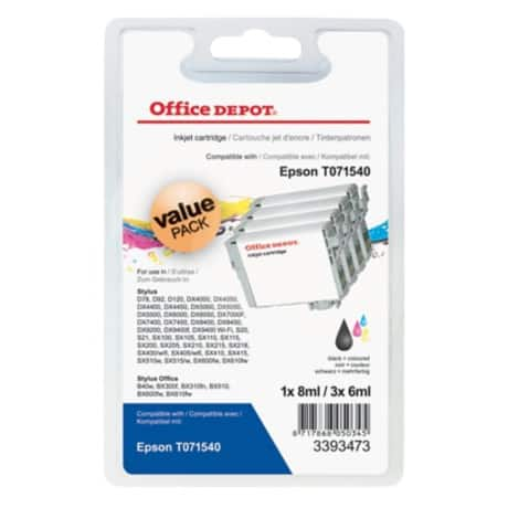 Office Depot Compatible Epson T0715 Ink Cartridge c13t07154010 Black, Cyan, Magenta, Yellow 4 pieces