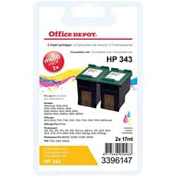 Office Depot Compatible HP 343 Ink Cartridge cb332ee 3 Colours 2 pieces