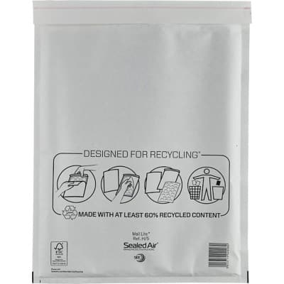 Sealed Air Mailing Bags H/5 79gsm White Plain Peel and Seal 50 Pieces