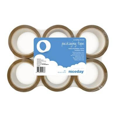 Niceday Packaging Tape Low Noise Economy 48 mm x 66 m Brown 6 Rolls