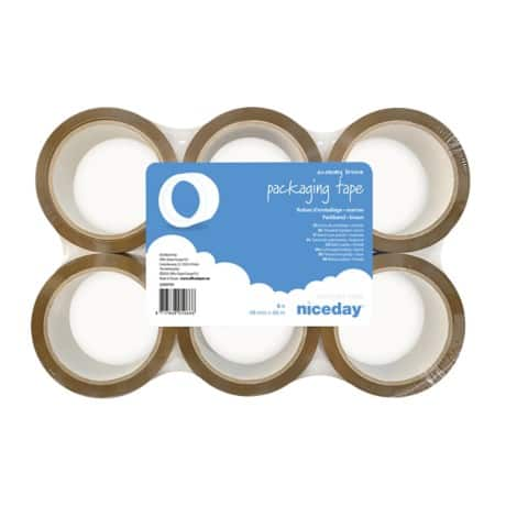 Niceday Packaging Tape Economy 48 mm x 66 m Brown 6 rolls