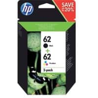 HP 62 Original Ink Cartridge N9J71AE Black & 3 Colours 2 Pieces
