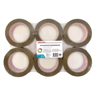 Office Depot Industrial Low Noise Packaging Tape 50 mm x 100 m Brown Pack of 6
