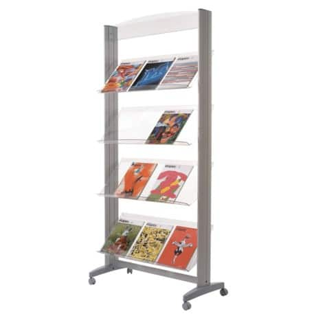 Paperflow four-shelf aluminium literature display