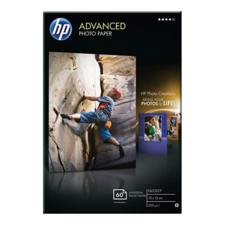HP Advanced Photo Paper, Glossy, Inkjet, 100 x 150 mm, 250gsm pack of 60