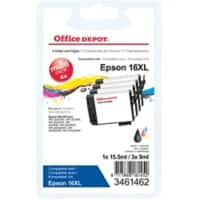 Office Depot Compatible Epson 16XL Ink Cartridge C13T16364012 Black & 3 Colours Pack of 4