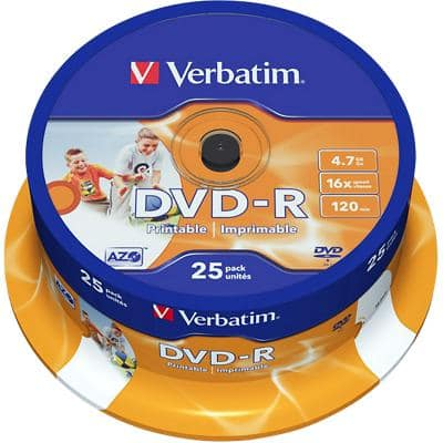 Verbatim DVD-R Wide Inkjet Printable 16x 4.7 GB 25 Pieces