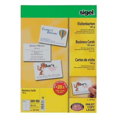 Sigel 3C Business Cards 185gsm for Inkjet/Laser/Copier-High White Pack of 600