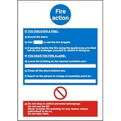 Mandatory Fire Instruction Sign 210 x 297mm Rigid Pvc