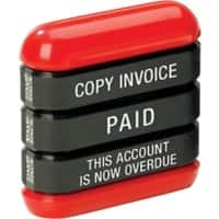 Trodat 3-in-1 Copy Invoice Paid Overdue Stamp Blue, Red