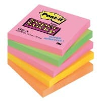 Post-it Super Sticky Notes Assorted Colours 76 x 76 mm 5 Pads of 90 Sheets