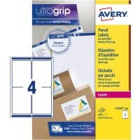 AVERY Parcel Labels L7169-100 UltraGrip White Self Adhesive A4 99.1 x 139 mm 100 Sheets of 4 Labels