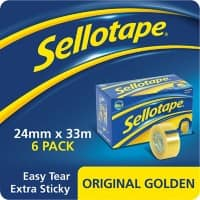 Sellotape Tape Original Golden Easy Tear Polypropylene 24mm x 33m Transparent 6 Rolls