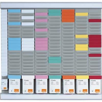 Nobo Wall Mountable T-Card Planning Kit Midi 48 x 48cm Silver